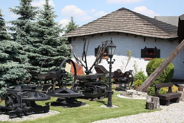 budynek, ogród, stare maszyny ozdobne